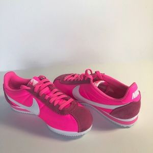 Neon Pink Vinyl and Suede Nike CORTEZ